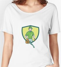 Gardener Landscaper Leaf Blower Crest Cartoon Women's Relaxed Fit T-Shirt