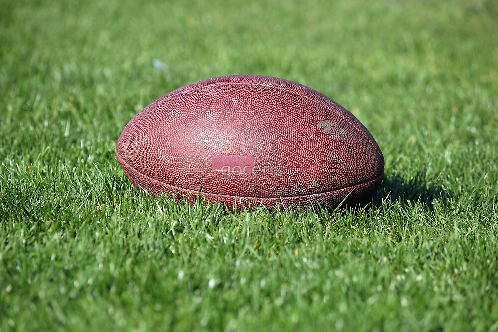 old American football ball on green grass by goceris
