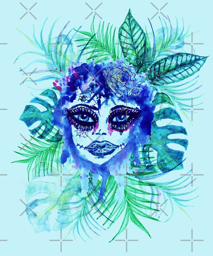 Woman face with sugar skull makeup and Tropic leaves by AnnArtshock