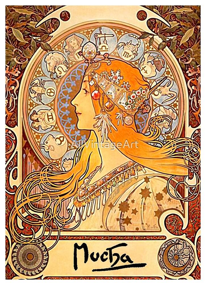 Vintage Alphonse Mucha - Zodiac c1900 Art Nouveau by AllVintageArt