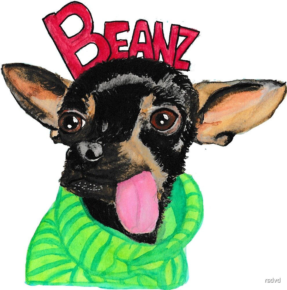Beanz Hart Watercolor Painting by rsdvd