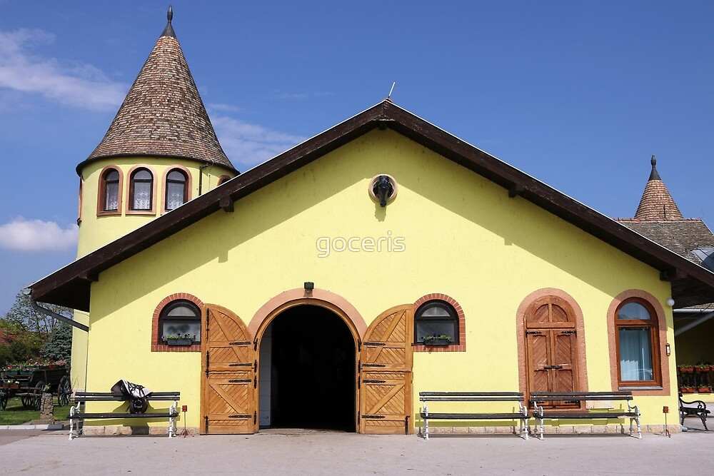 old yellow horse stable on farm by goceris