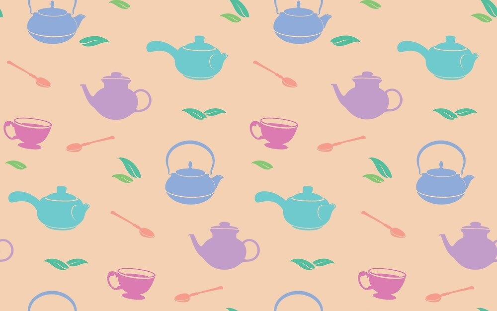 Tea time, colorful pattern by Yullapa
