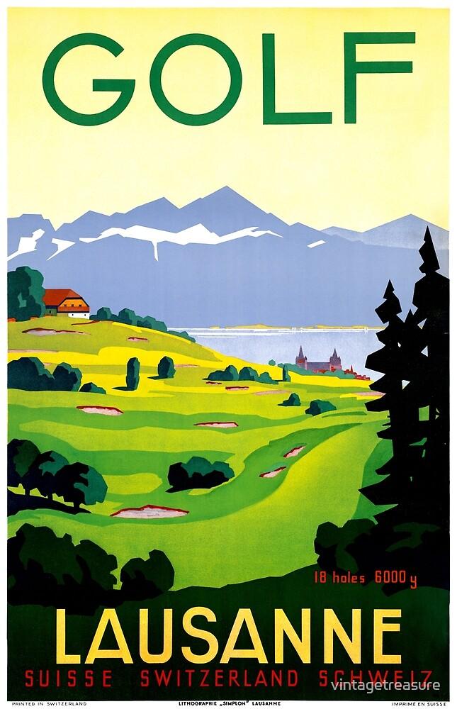 Switzerland Lausanne Golf Vintage Travel Poster Restored by vintagetreasure