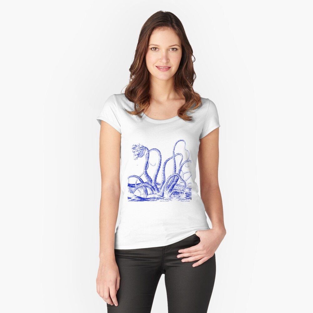 giant octopus oceanic sailing ship Women's Fitted Scoop T-Shirt Front