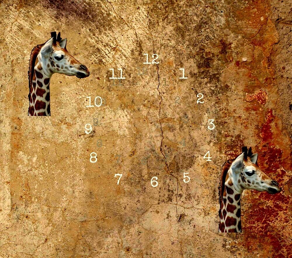 Giraffe Clock by LeonaPaints