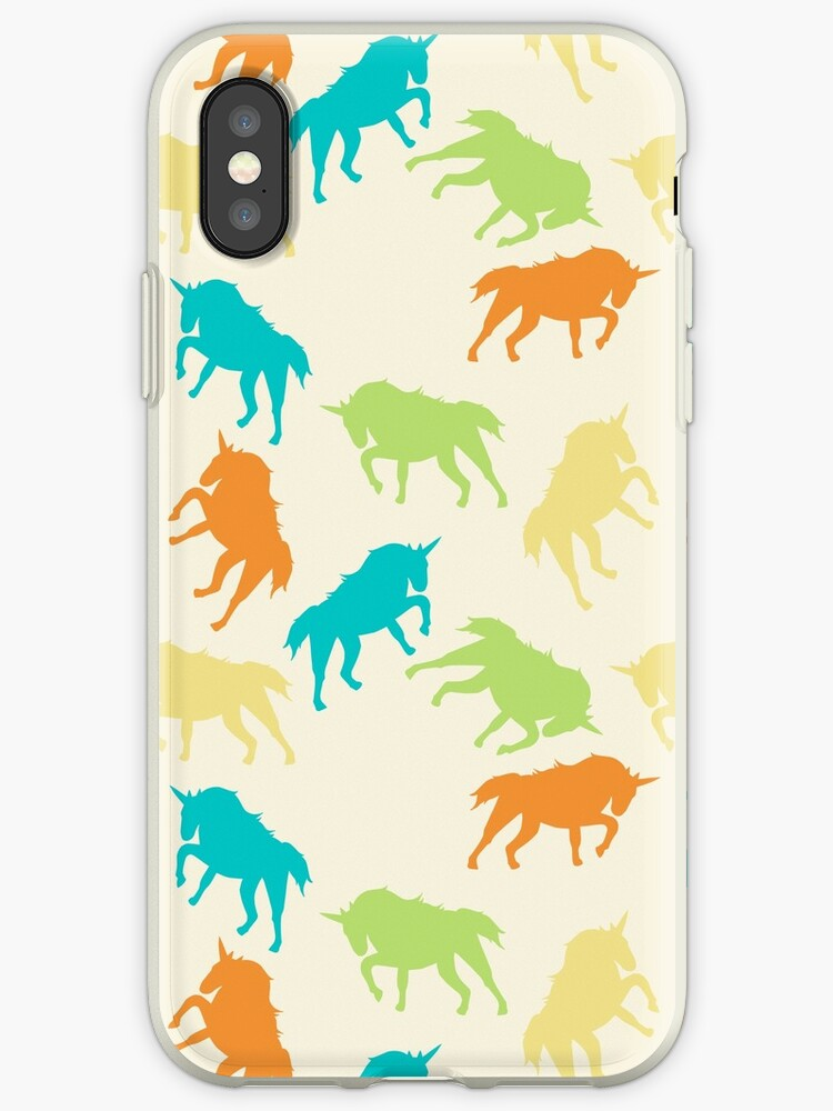 Cute and Beautiful Seamless Pattern Yellow, Green, Orange, Light Blue Abstract Unicorn Horse Animal Mammal Fantasy Dream Magic. by Maricrism