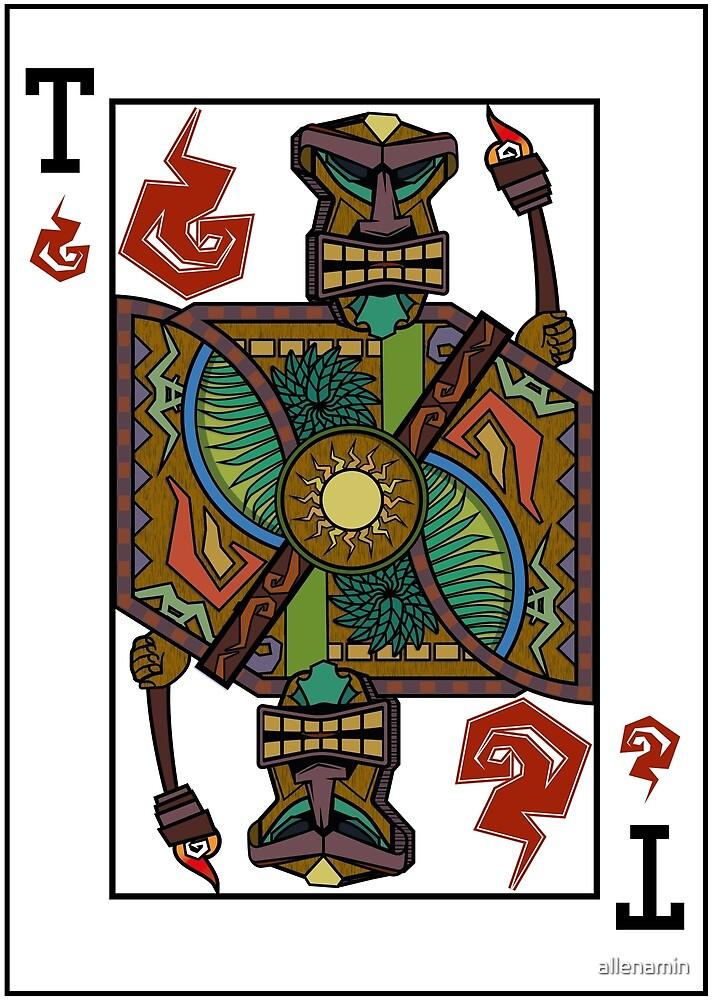 Tiki Warrior Playing Card by allenamin