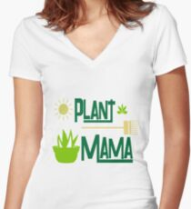Plant Mama Design For Gardeners Women's Fitted V-Neck T-Shirt