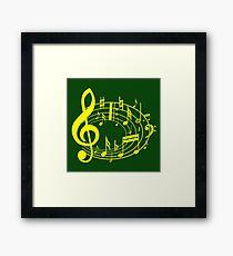Yellow music notes Framed Print
