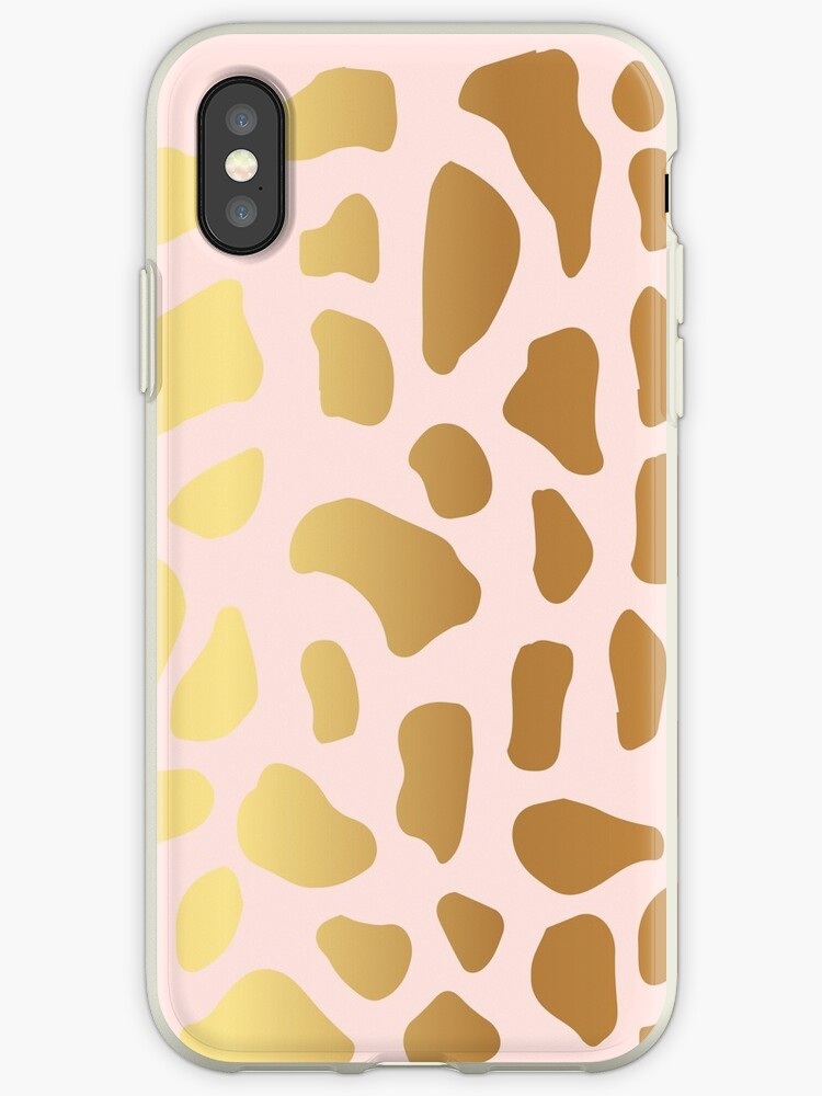 Gold Dark Spot Animal Skin on Pink Background by Maricrism