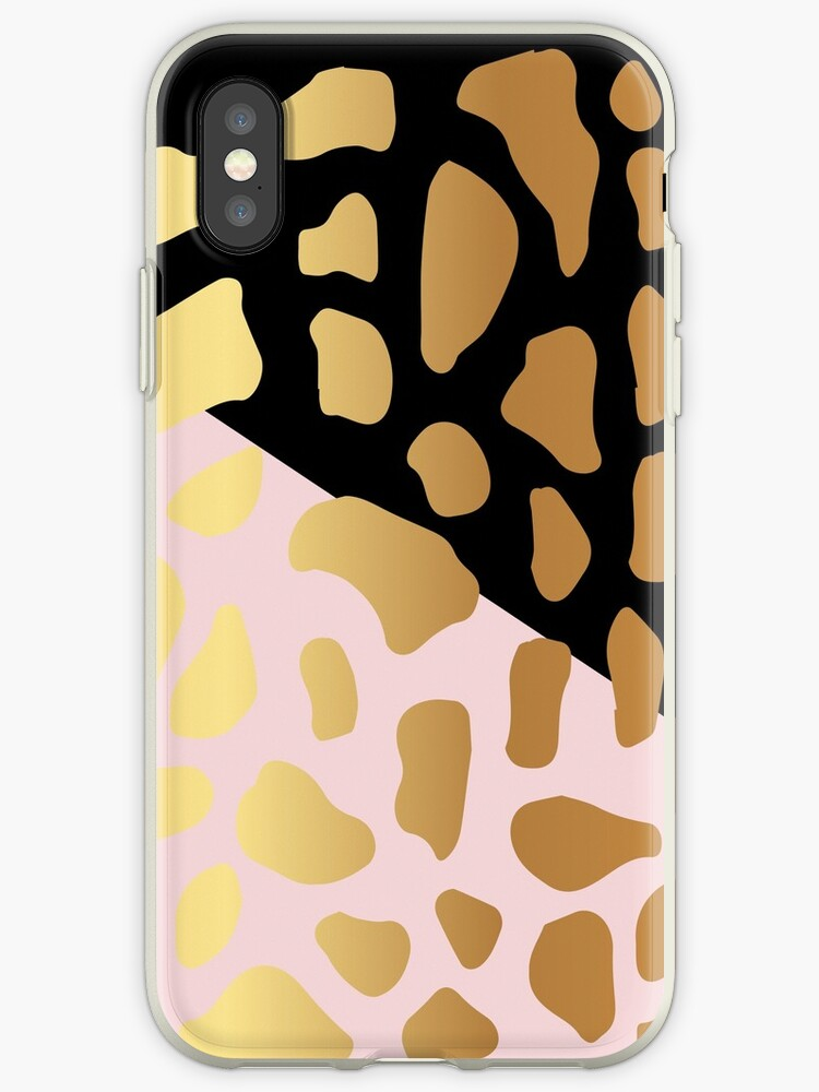 Gold Dark Spot Animal Skin on Black and Pink Background by Maricrism