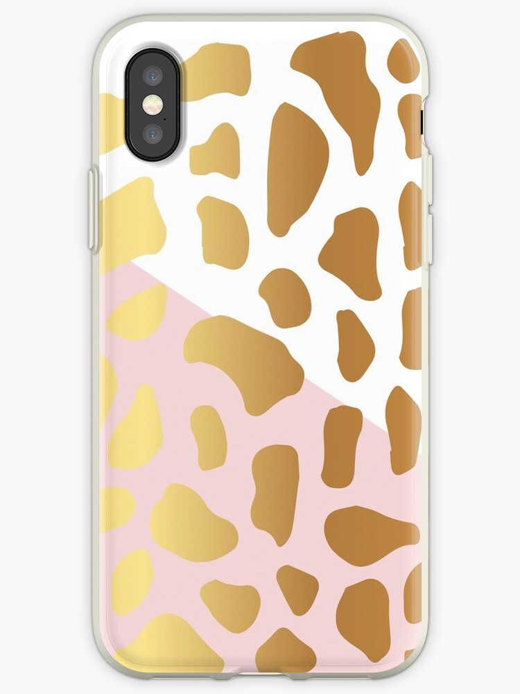 Gold Dark Spot Animal Skin on White and Pink Background by Maricrism