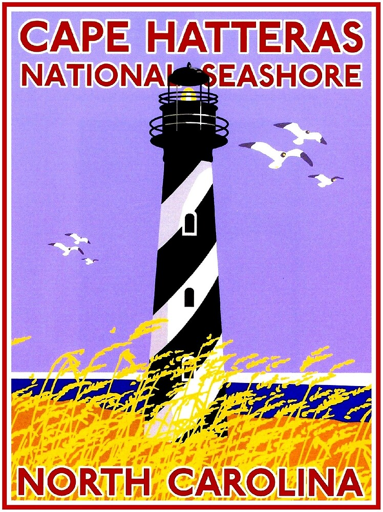 LIGHTHOUSES : Vintage Cape Hatteras Seashore Advertising Print by posterbobs