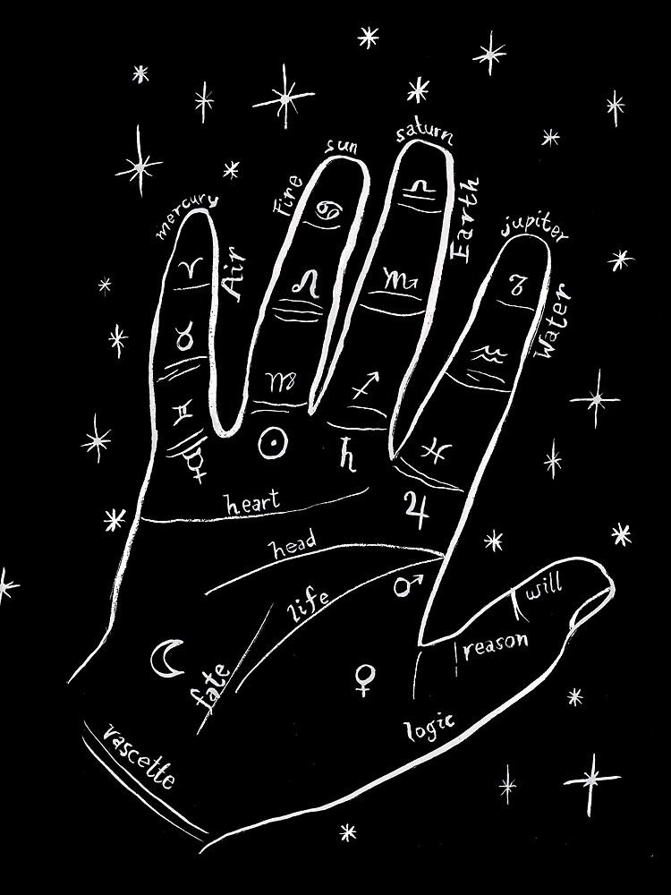 Mystical palm reader hand print by shoshannahscrib