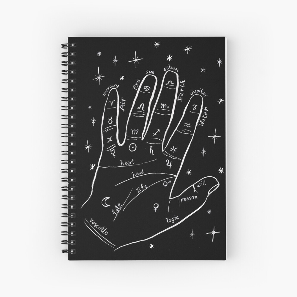 Mystical palm reader hand print Spiral Notebook