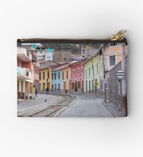 Railroad tracks winding through Alausi colourful streets, Ecuador Studio Pouch