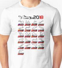 Calendar F1 2018 circuits white sport Unisex T-Shirt