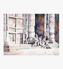 Painting of men sitting outside church in Morelia, Mexico.   Photographic Print