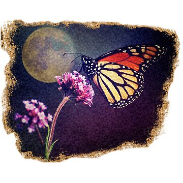 Surreal Monarch Butterfly and Full Moon by jocelynsart