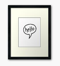 hello speech bubble Framed Print