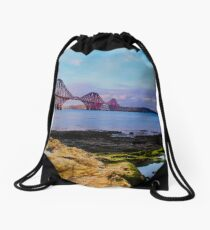 Clear skies on the firth of forth Drawstring Bag