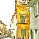 Yellow clock tower by Giuseppe Cocco