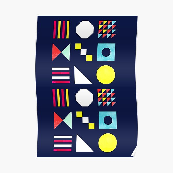High Energy Shapes- bright geomertic pattern Poster