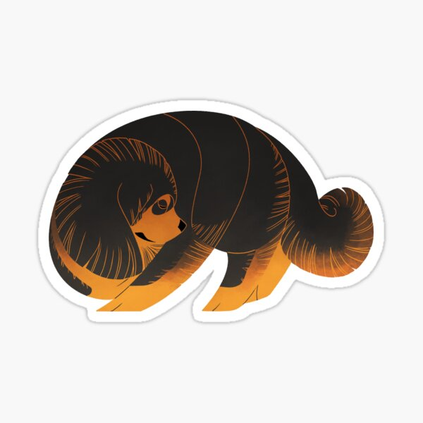 Geometric dogs - Tibetan Mastiff Sticker