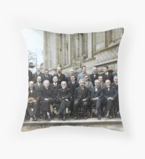 The most intelligent picture ever taken: Participants of the 5th Solvay Conference on Quantum Mechanics, 1927. 17 of the 29 attendees were or became Nobel Prize winners. Throw Pillow