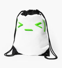 Stressed out kaomoji emoticon face Drawstring Bag
