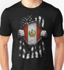 Peruvian American Flag USA Peru Slim Fit T-Shirt