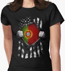 d9b7b8b01 Portuguese American Flag USA Portugal Fitted T-Shirt