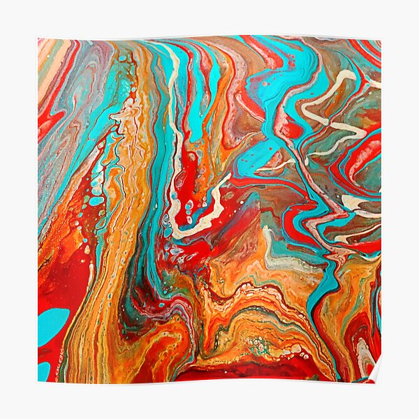 Red Orange Teal Paint Pour Poster
