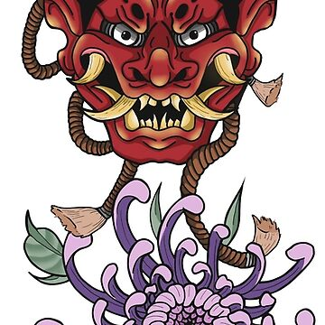 Hannya mask and chrysanthemum's  by Prettayboyart