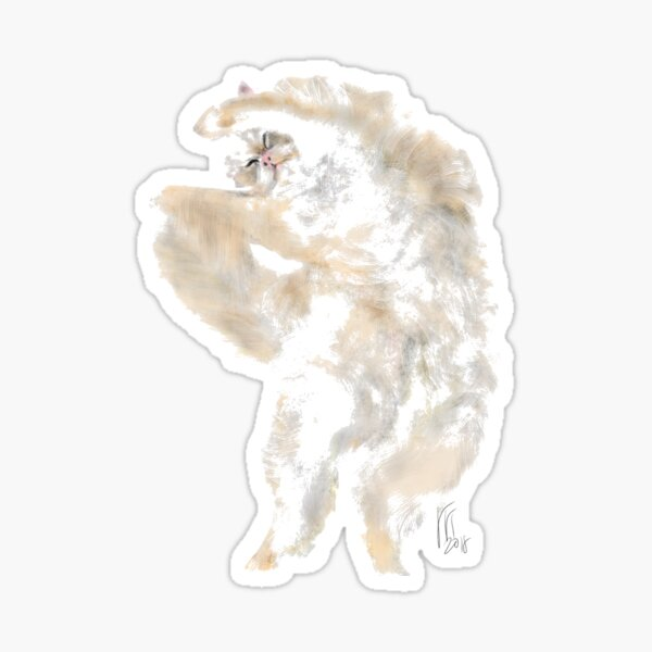Stretched out fluffy cat  Sticker