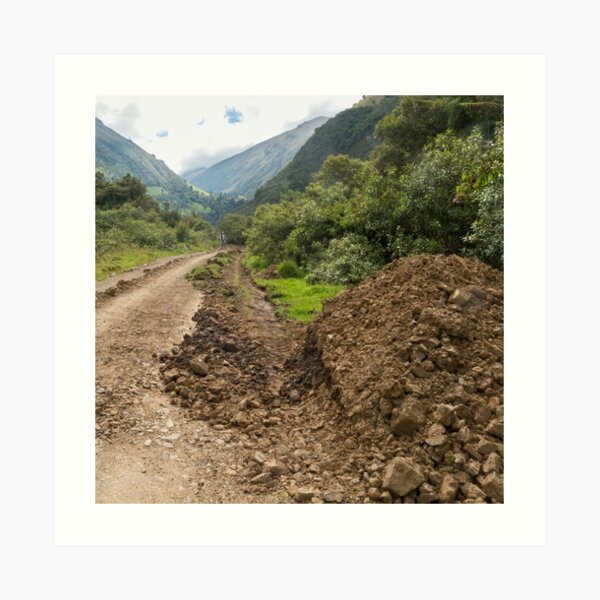 Partially destroyed dirt road in Andes mountains, Ecuador Art Print