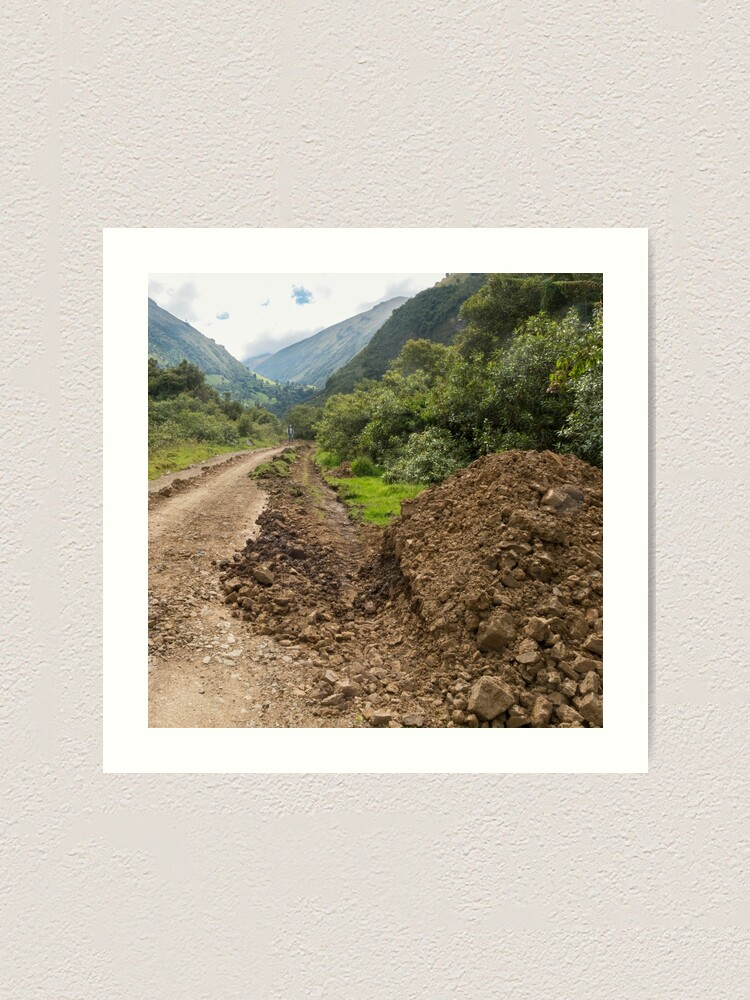 Alternate view of Partially destroyed dirt road in Andes mountains, Ecuador Art Print