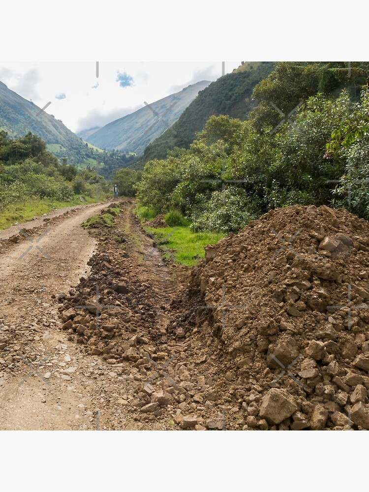 Partially destroyed dirt road in Andes mountains, Ecuador by kpander