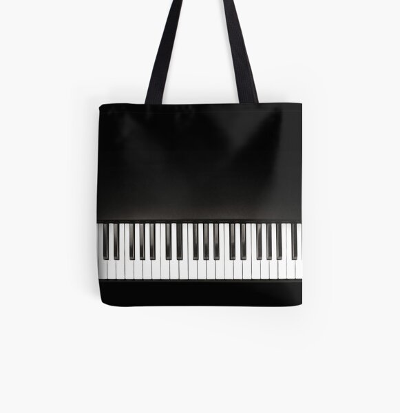 Piano Music Black and White All Over Print Tote Bag
