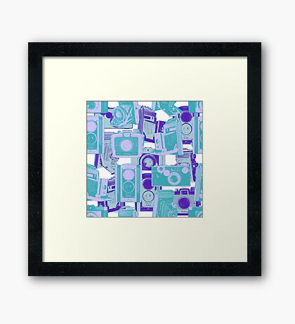 Vintage Camera Pattern in Turquoise and Blue Framed Print
