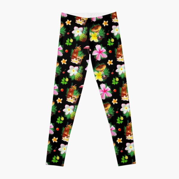 Tiki cocktails tropical aloha bouquet of fun Leggings