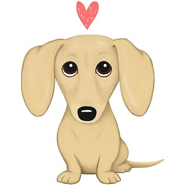 Cream Short Haired Dachshund with Heart by ShortCoffee