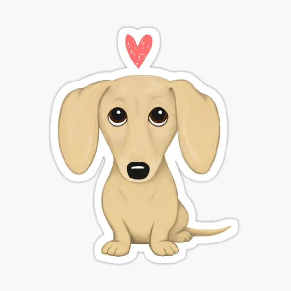 Cream Smooth Coated Dachshund Dog Cartoon with Heart Sticker