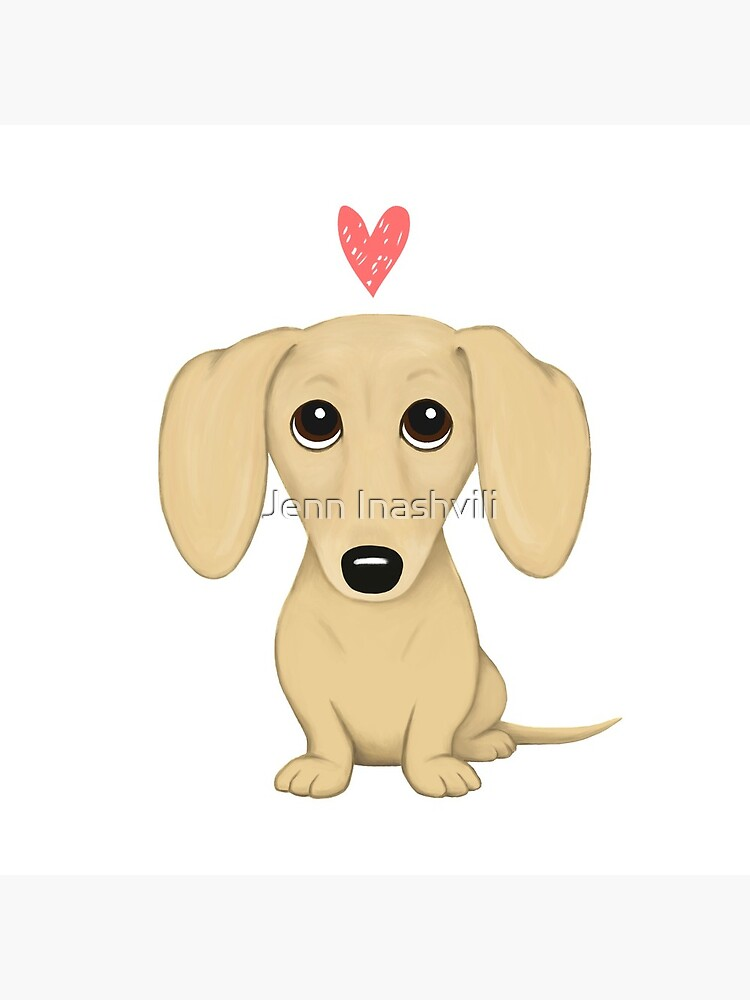 Cream Smooth Coated Dachshund Dog Cartoon with Heart by ShortCoffee