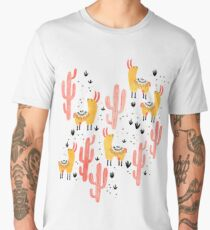 Yellow Llamas Red Cacti Men's Premium T-Shirt