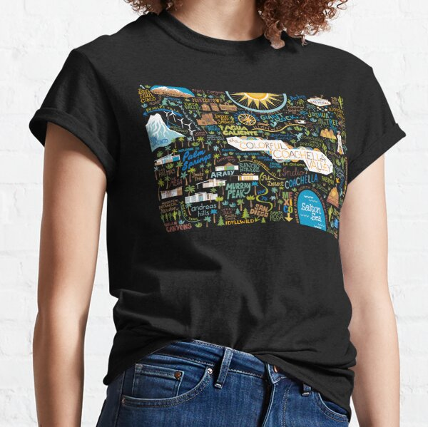Coachella Valley Illustrated Map - Palm Springs, Joshua Tree Classic T-Shirt