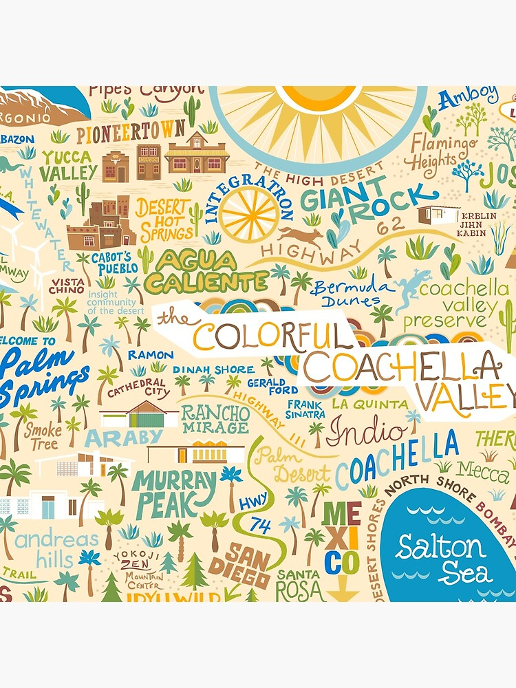 Coachella Valley Illustrated Map - Palm Springs, Joshua Tree by challisandroos