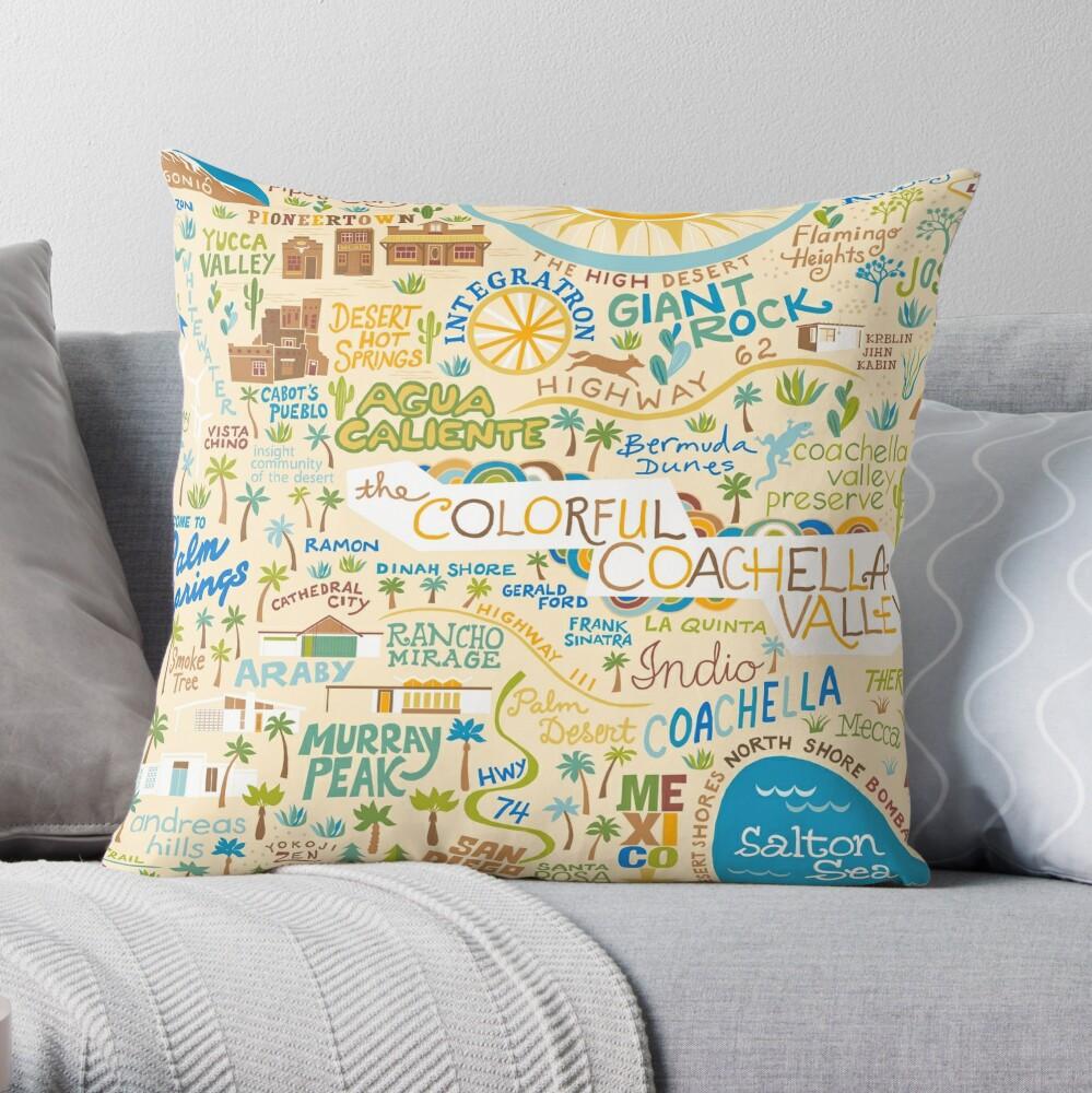 Coachella Valley Illustrated Map - Palm Springs, Joshua Tree Throw Pillow