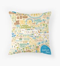 Coachella Valley Illustrated Map - Palm Springs, Joshua Tree Throw Pillow
